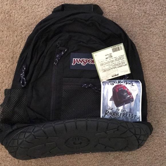 Jansport Bags Vintage Black Rubber Bottom Zip Backpack